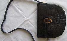 ~ WOW wunderschöne TASCHE Handtasche echt Leder mit Prägung in schwarzblau RETRO