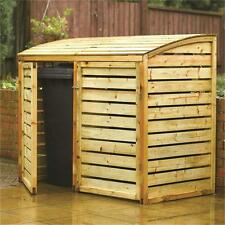 TIMBER BIN STORE FOR 2 WHEELIE BINS WOODEN STORAGE SHED ROWLINSON DOUBLE