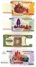 LOT SET SERIE 4 BILLETS CAMBODGE CAMBODIA RIELS 1998 -2007 NEUF UNC
