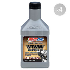Amsoil 20W-50 Synthetic V-Twin Motorcycle Oil (MCV) 4 x 1 US Quart - 3.76 Litres