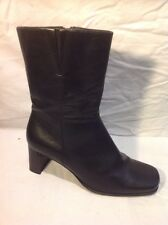 Hush Puppies Black Mid Calf Leather Boots Size 41