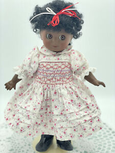Vintage Reproduction Antique Googly Eyed Doll, Ethnic, Black Doll, 32cm Tall