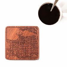 Vancouver map coaster One piece  wooden coaster Multiple city IDEAL GIFTS