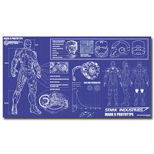 "Iron Man Stark Industries Blueprint - Movie Art Silk Poster 24x44"""
