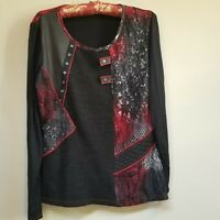 VEX Collection Women's Black Scoop Neck Lace Sweater Long Sleeve Top Size 42.
