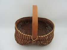 "Vtg Primitive Stained Woven Basket Splint Buttock Medium 10"" Gathering Egg Fruit"