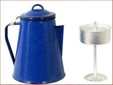 Coffee Pot Enamel 8 Cup 2 Lt Camp Kettle Percolator Camping Outdoor BBQ Picnic