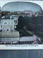 Antique Stereoview Card Photo Tinted WHITE HOUSE GROUNDS WASHINGTON DC