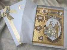 Grand mariage carte A4 fait à la main coffret souvenir de mariage carte d'or couple