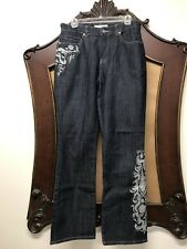 Chico's Platinum Woman Sz 0.5Reg Dark Denim Embroidered Beaded Bootcut Jeans EUC