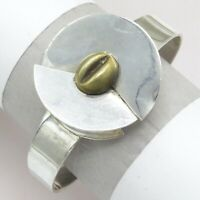 "Vtg 1980's Mexican Sterling Silver COFFEE BEAN 1.5"" Modernist Wide Cuff Bracelet"