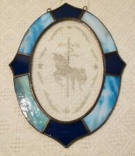 """Etched Stained Glass Suncatcher Carousel Horse 8"""" x 6"""" Oval Blue & Teal Excl"""