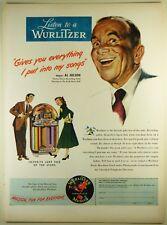 Vintage 1948 Wurlitzer Jukebox Full-Pg Lg Magazine Print Ad: Al Jolson