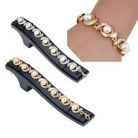Ladies Charming Gold Silver Plated Jewelry Pearl Crystal Bangle Bracelet