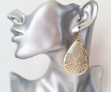 Gorgeous 7.5cm long gold tone filigree drop earrings with sparkly glitter detail