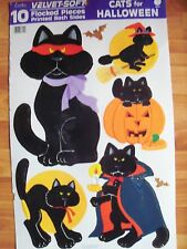 10pc Flocked Black Cats Halloween Decorations Vintage Eureka Nos