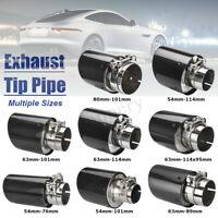 54mm 63mm 80mm 2'' 2.5'' 3'' Gloss Carbon Fiber Car Exhaust Tip Pipe Muffler !
