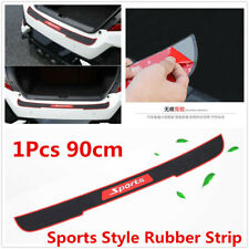 90cm Black+Red Sports Style Rubber Strip Car Rear Bumper Edge Sill Protector Pad