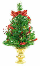 """24"""" Pre-Lit Decorated TableTop Artificial Holiday Christmas Tree w/ Clear Lights"""