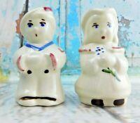 Vintage Cute Couple Salt Pepper Shakers Porcelain/Ceramic