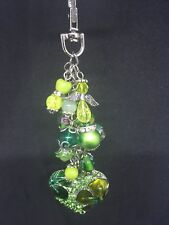 Green Heart Bag Purse Bead Charm Keyring Gift For Someone Special