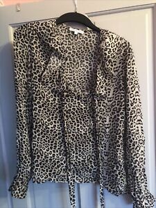 lily and lionel Frill Leopard Blouse Top Size L 12