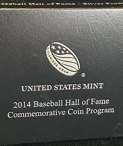 US Mint Proof Baseball Hall Fame Commemorative Coin Silver One Dollar 2014 S$1