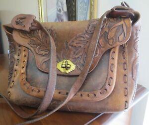 50/60s HAND TOOLED OAK LEAF leather saddle bag purse BOHO HIPPIE vintage