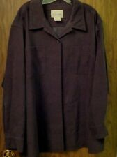 BLACK WOMENS LONG SLEEVE BUTTON UP SHIRT SIZE 2X HAS TWO FRONT POCKETS