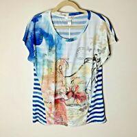 CJ Banks Women's Top Size 0X 14W Short Sleeves Travel Theme Bling Stripes Blue