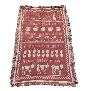 """Vintage All Things Bright &  Beautiful Woven Throw Blanket Farm Country 31""""x48"""""""