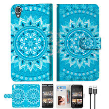 BLUE AZTEC TRIBAL Wallet TPU Case Cover For HTC Desire 530-- A001