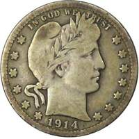 1914 D 25c Barber Silver Quarter US Coin VG Very Good