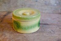 Stoneware Green Glaze Butter Crock w/Lid