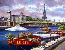 """""""ALONG THE SEINE"""" by SAM PARK!  L/E GICLEE ON CANVAS! 14 x 18! PERFECT!"""