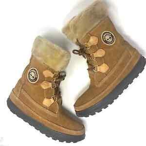 Timberland Mukluk Lace-Up Winter Shearling Boots Wheat Tan Logo Size 10