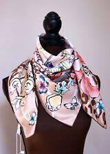 New AUTHENTIC Salvatore Ferragamo Beige Icons Multicolor Silk Square Scarf