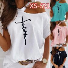 Damen T-Shirt One Shoulder Printed Kurzarm lose Bluse T-Shirt weiblich