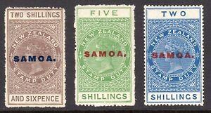 SAMOA 1914-24 QV Postal Fiscal 2s-5s on De La Rue paper M, SG 123,4,7 cat £42