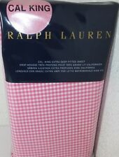 New - Ralph Lauren Rl Classic Gingham CalKing Fitted Sheet Pink/White Msrp $185