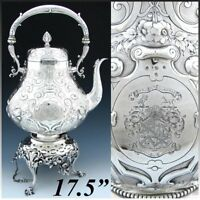 "Antique Victorian Silver-plate 17.5""  120oz ""Tipper"" Kettle, Armorial Heraldry"