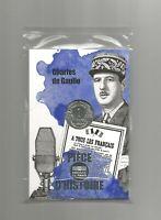 COINCARD 2019 FRANCE 10 EURO SILVER COIN UNC CHARLES DE GAULLE  1 FRANC  MORLON
