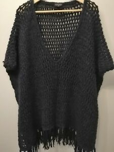 Topshop Navy Fringed Poncho Cape Knitwear Top Jacket Size M/L 16