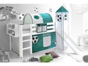 Spielbett Hochbett Kinderbett Kinder Bett mit Turm und Rutsche + Vorhang