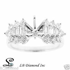 Engagement Ring Round and  Baguette 0.93 ct Diamonds in 18k White Gold