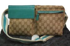 Auth Gucci GG Canvas Monogram Waist Belt Bum Bag Fanny Pack Green 1205a