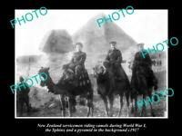 OLD POSTCARD SIZE PHOTO OF NEW ZEALAND ANZAC SOLDIERS IN EGYPT 1917 PYRAMIDS
