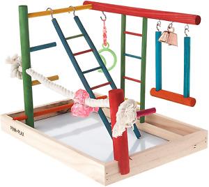 Bird Play Gym Parrot Perch Stand Bird Activity Center Wooden Playpen Toy 10x14in