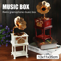 Vintage Mini Phonograph Music Box Mechanical Home Table Decor Birthday Gift