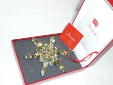Baccarat Crystal Noel Gold Snowflake Christmas Ornament NEW IN RED BACCARAT BOX